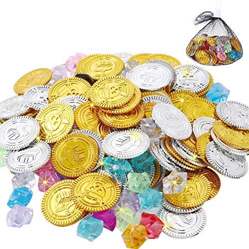FORMIZON 100pcs Pirat Münzen + 100pcs Piraten Edelsteine, Goldmünzen des Piratenschatz Spielzeugs und Piraten Schmucksteine für Kinder Party Favor Piratenparty Mitgebsel (150PCS)