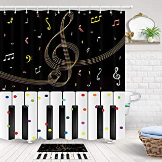 JAWO Music Shower Curtain Sets with Rugs, Modern Art Music N