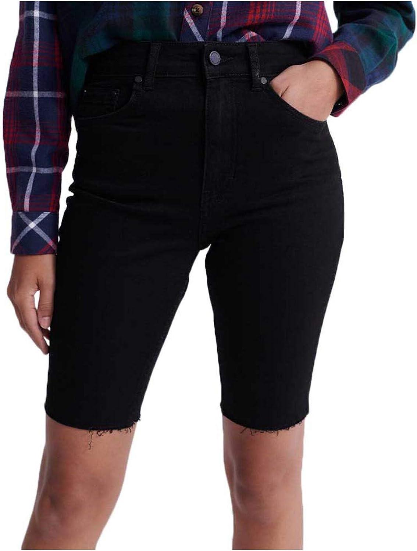 Superdry Womens Black Frayed Pocketed Zippered Shorts Size 26 Waist