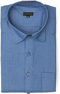 BLUEPOCKET Premium Blue Formal Shirt for Men. Cotton, Regular Fit, Rounded Hemlines