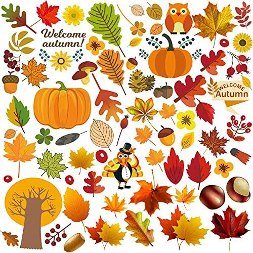 Adhesivo decorativo para ventana de Acción de Gracias, sin pegamento, hojas de arce, para habitación de los niños, café, Acción de Gracias, fiesta de agradecimiento, 6 unidades