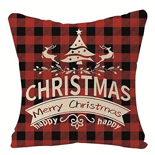 'N/A' Red Plaid Christmas Pillow Cover Farmhouse Throw Pillow Case Christmas Decor Sofa Cushion Cover 16'x16' Linen Pillow Cover