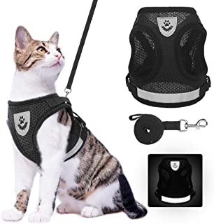 Cat Harness and Leash Set - Reflective Escape Proof Cat Harness for Kitties Daily Outdoor Walking with Soft Breathable Mes...