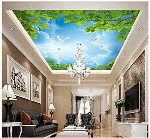 Mznm 3D foto behang 3D plafond behang muurschilderingen Sky Tree takken laat witte duiven plafond daken muurschilderingen decoratie 280x200cm