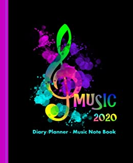 Guitar Players Music Design: Weekly January to December Diary Planner Music Note Book (Planners One Year 2020)