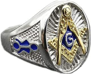 Budazo Men's Titanium Steel Silver Blue Epoxy AG Logo Masonic Rings