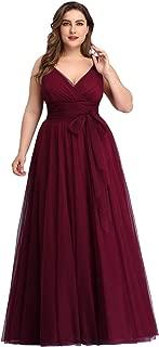 Women's Plus Size V-Neck Wrap Empire Waist Tulle Bridesmaid Dress 7303PZ