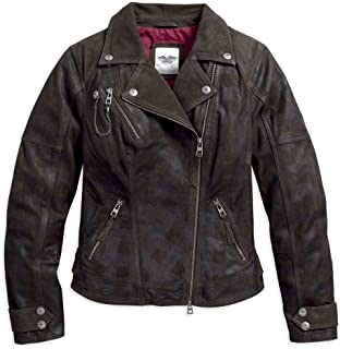 Women's Haunt Plaid Leather Biker Jacket, Dark Gray 97164-17VW