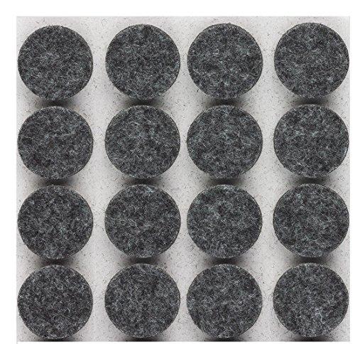 haggiy® Filzgleiter / Möbelgleiter, selbstklebend, rund, 5,0mm stark, Ø=22mm, grau (16 Stück)