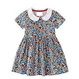 EU World Kleid für Mädchen Kinder Kurzarm Kleid Baby Mädchen Blumen Bunt Mit Kragen Sommer Party Kleid Prinzessin Mädchenbekleidung Casual Baumwolle Kinderkleid Babybekleidung 2 3 4 5 6 7 Jahre