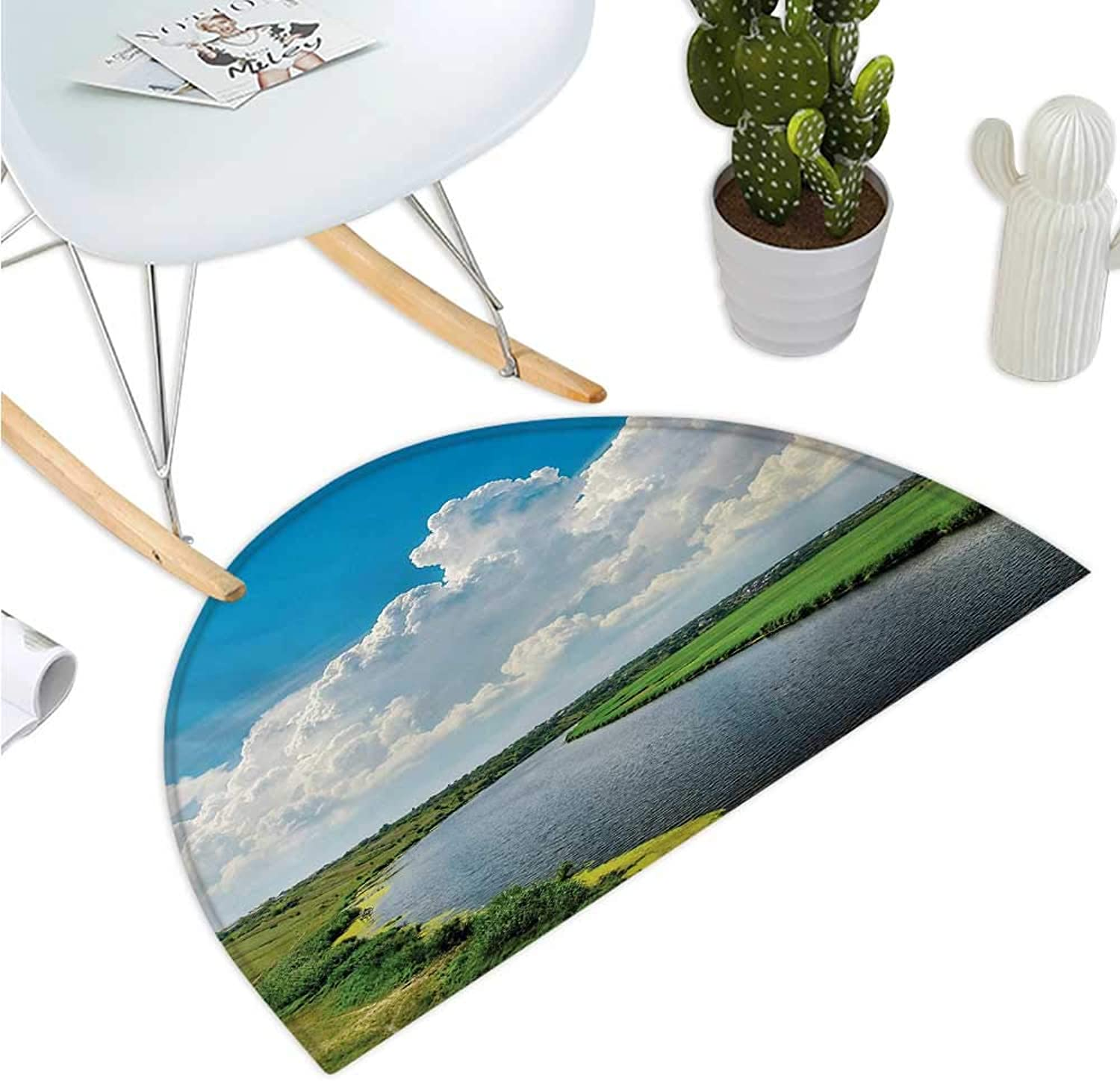 Nature Half Round Door mats Clouds Over Moving River Landscape with Lush Meadows Grass Clear Sky Daytime Bathroom Mat H 51.1  xD 76.7  Green bluee White