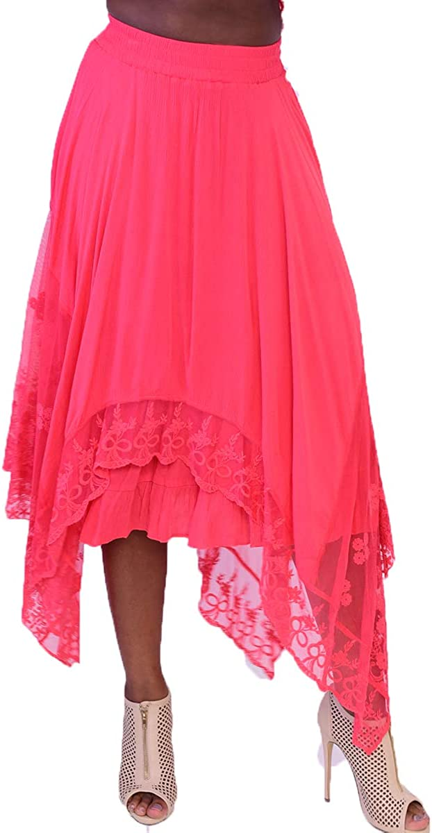 Azucar Ladies Laced Long Skirt - LRK223