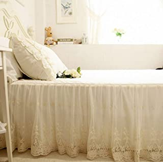 Brandream Luxury Ivory White Lace Bed Skirt Queen Size Split Corners Romantic Girls Bed Sheets