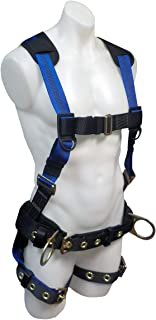 SafeWaze V-LINE Construction Safety Harness with Waist Belt, No-Tangle D-Ring with Pad, Fall Protection Equipment with Fall Arrest Indicator, OSHA/ANSI Compliant (Medium)