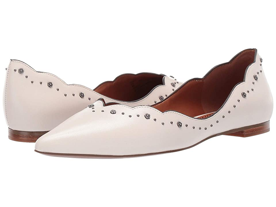 COACH Vivian Pointed Toe Flat with Tea Rose Studs (Chalk Leather) Women