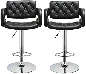 US Fast Shipment Bazahy Swivel Office Chair Casual Lift Chair Dining Chair Mid Century Club Guest with Modern Chair Set of 2 Leather Adjustable Bar Stools Counter Height Swivel Stool (Black~A)