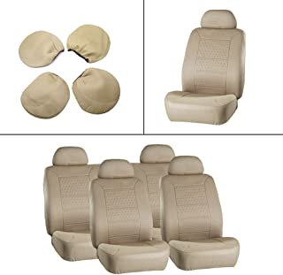 OCPTY Car Seat Cover, Stretchy Universal Seat Cushion w/Headrest 100% Breathable Automotive Accessories with Durable Washable Embossed Cloth for Most Cars(Beige)