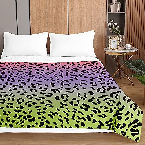 3D Leopardo Colcha de Verano Primavera Cubrecama Colcha Bouti, Chickwin Ligero Edredón Manta Suave Multiuso Colchas para Cama de Infantil Individual Matrimonio (Degradado,100x150cm)