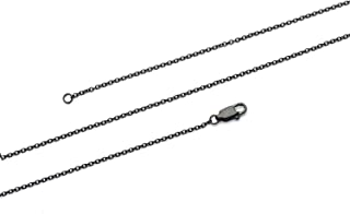 1MM Stainless Steel Black Solid Cable Chain Necklace for Men Womens, 16-36in
