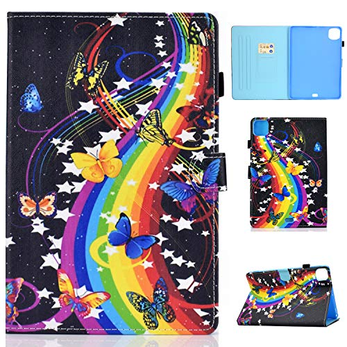 Bspring iPad Air 4th 10.9 inch 2020 Case, iPad Pro 11 inch 2020/2018 Case, PU Leather Stand Folio Case Smart Cover with Pen Holder, Auto Sleep/Wake, Music & Butterflies