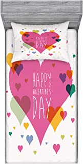Ambesonne Valentines Day Fitted Sheet & Pillow Sham Set, Happy Valentine Day Words Love Romance Theme Abstract Image with Heart, Decorative and Printed 2 Piece Bedding Set, Twin, Multicolor