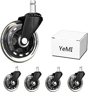 YeMI Rueda Silla Oficina Ruedas de repuesto de goma para silla de oficina , ruedas silenciosas y seguras, para suelos de m...