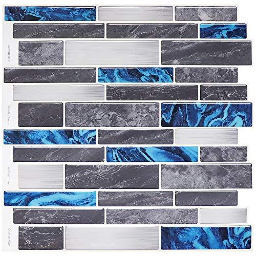 Blue Tiles Abziehen und Aufkleben, 30,5 x 30,5 cm, selbstklebende Wandfliese, graues und blaues Marmor-Design, schimmelhemmend, 3D-Tapete für Wohnung, Küche, Badezimmer (4 Blatt)