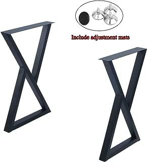 "MBQQ 2 Pcs Furniture Legs Rustic Decory Triangle Shape Table Legs,Heavy Duty Metal Desk Legs,Dining Table Legs,Industrial Modern, DIY Iron Bench Legs(H28""xW17.7"")"