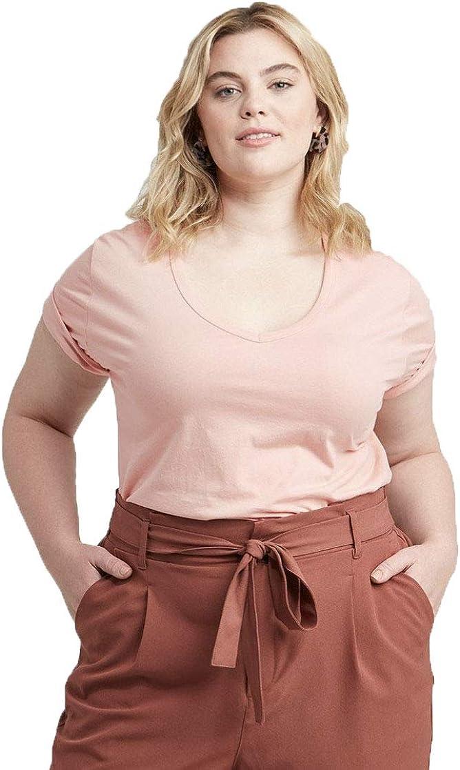 Ava & Viv Women's Plus Size Short Sleeve V-Neck Slim Fit T-Shirt - (Blush, 1X)