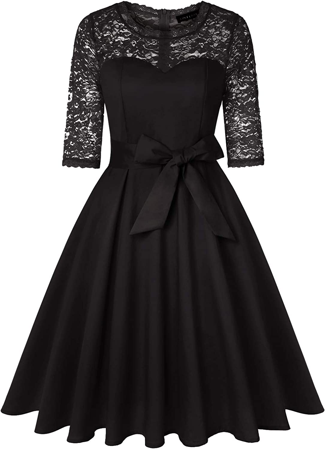MINTLIMIT Women's Vintage Floral Lace 3/4 Sleeve Belted Cocktail Party Dress with Pockets