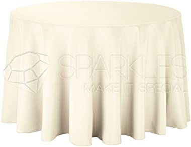 """Sparkles Make It Special 10-pcs 120"""" Inch Round Polyester Cloth Fabric Linen Tablecloth - Wedding Reception Restaurant Ba"""