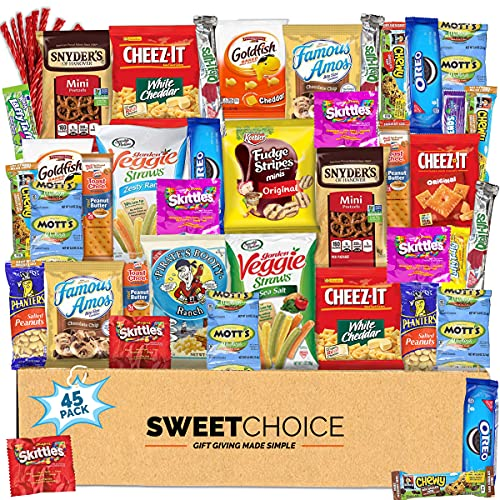 Snack box variety pack (45 Count) Gift Box for Teens - Gift Basket Food Arrangement for Dad - Birthday Candy Basket for Men, Women, Boys, Girls, Kid, Adult, College Student