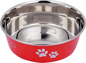 Naaz Pet Supplies Export Quality Heavy Dog Bowls with 100% Food Safe Silicone Rubber Base Stainless Steel Pet Bowl Bone/Pa...