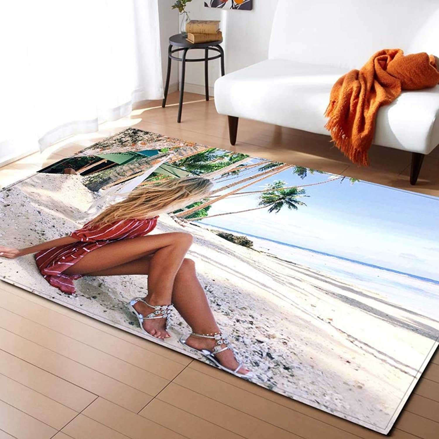 3D Area Rug Non-Slip Doormat Carpet Sexy and Elegant Women Printing for Living Room Bedroom Kitchen Bathroom and Gym,E,200x150cm