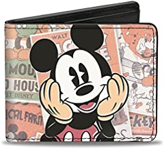 Buckle-Down mens Classic Mickey Sitting Pose Close-up Stacked Comics Bi Fold Wallet, Multicolor, Standard Size US