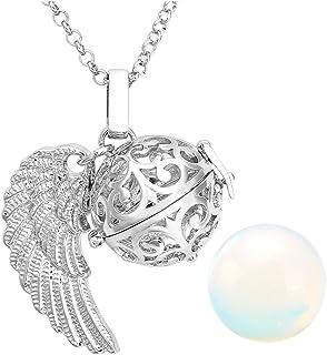 JOVIVI, ciondolo chiama-angeli cavo, a forma di gabbietta con ali d'angelo, apribile, conpietra da Ø 16...
