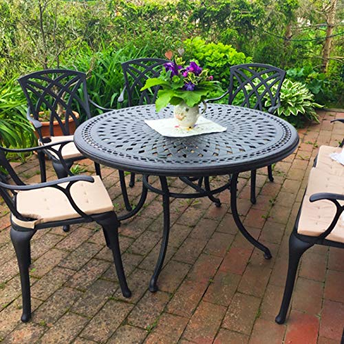 Lazy Susan Alice 6 Seater Round Sand-cast Aluminium Garden Furniture Set, Maintenance-free, Weatherproof, Antique Bronze Finish, Matching April Chairs, April Bench| Stone Cushions
