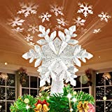 HueLiv Christmas Tree Topper Lighted Snowflake Topper with LED Rotating White Snowflake Projector Lights, 3D Glitter Hollow Snowflake Tree Topper for Xmas Tree Decorations Gift for Kids Friends
