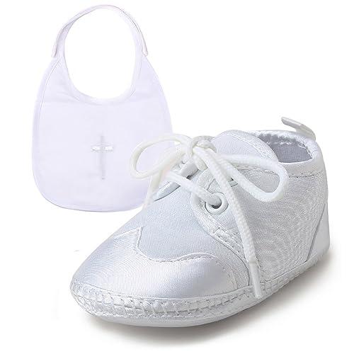 9ecbf0239 DELEBAO Blanco Zapatos de Bebe Bautismo Zapatos Primeros Pasos para bebé Niño  Zapatos de Suela Suave
