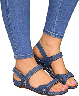 Premium Comfy Hook and Loop Closure Sport Sandal ALOVEWE Womens Orthopedic Open Toe Leather Sandals Casual Flat Arch Support Wedge Shoes for Summer Outdoor Hiking Walking Beach