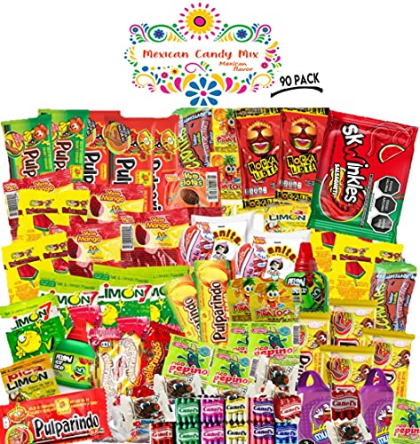 Mexican Candy Mix (90 Count) Assortment of Spicy, Sour and Sweet Premium Candies, Includes Luca, skwinkles, Pelon, Pulparindo, Pica Goma, Rellerindo, by Mexican Flavor.