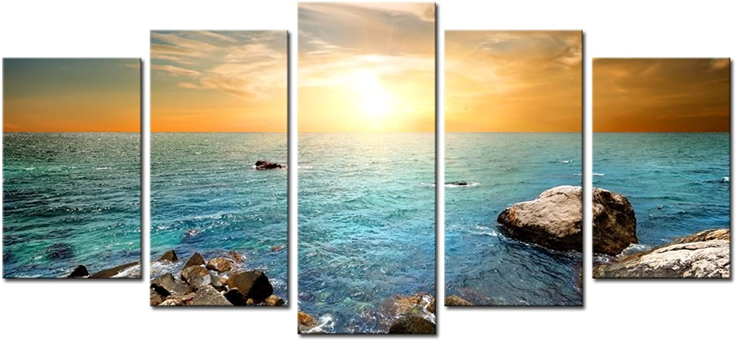Sechars - 5 Piece Seascape Canvas Wall Art Ocean Sunrise Pictures Print on Canvas Modern Landscape Artwork Framed for Home Living Room Office Decor Ready to Hang