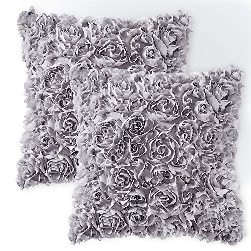 MIULEE Pack of 2 Decorative Romantic Stereo Chiffon Rose Flower Pillow Cover Solid Square Pillowcase for Sofa Bedroom Car 16x16 Inch 40x40 cm Grey