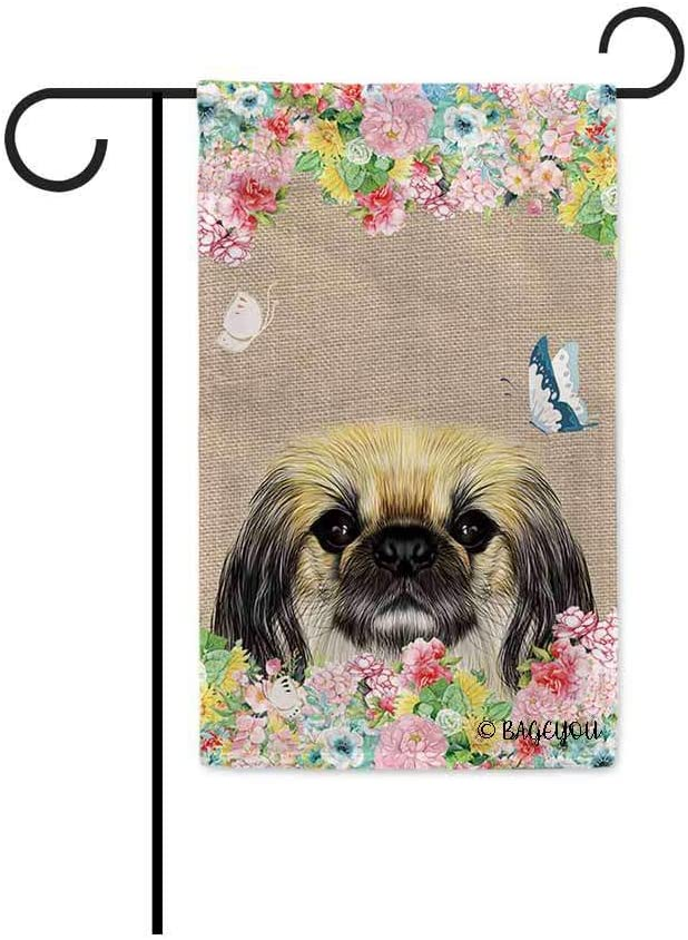 BAGEYOU Hello Spring Flowers with My Love Dog Pekingese Decorative Outdoor Garden Flag Cute Puppy Summer Floral Seasonal Banner 12.5X18 Inch Print Double Sided