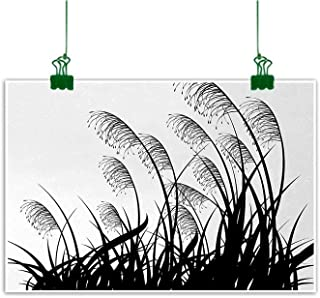 Unpremoon Black and White Canvas Wall Art Picture Silhouette of Bushes Wild Plants Wheat Field Twiggy Herbs Seasonal Picture for Sofa Wall Decoration No Frame White Black W 47