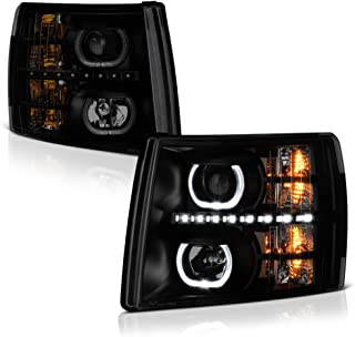VIPMOTOZ LED Halo Ring Projector Headlight Assembly For 2007-2013 Chevy Silverado 1500 2500HD 3500HD - Matte Black Housing, Smoke Lens, Driver and Passenger Side
