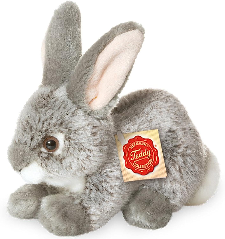 Plush Soft Toy Grey Rabbit by Teddy Hermann. 18cm. 93701.