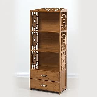 estantería XIAOXIAO Librería Piso 4 Capas Bamboo Art con Cajones Combinación Estantes Fácil de Mover (Tamaño : 70 * 29 * 130cm)