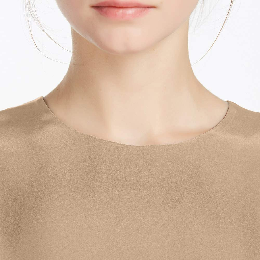 LilySilk Seide Damen Hemdbluse Kurzarm Bluse Hemd Tunika 22 Momme Verpackung MEHRWEG Hell Kamel