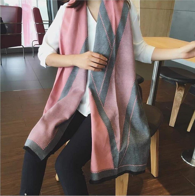JUN Women's Cashmere Scarf Winter New Trend Fashion Student Joker Thicken Warm Super Large Shawl (color   B)